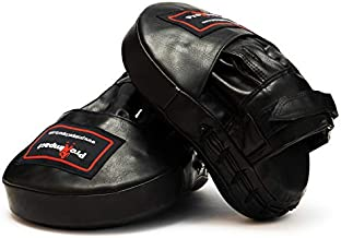 Pro Impact Curved Focus Mitts – PU Leather, Shock Absorbent Training Hand Pads - Ideal for Karate Boxing MMA Muay Thai or Fighting Sports Training Black