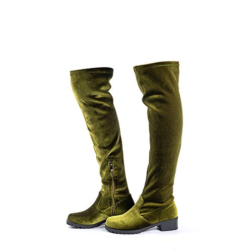 Overknee Stiefel Damen Leder PU Frauen Winterstiefel Wildleder Blockabsatz 4CM Reissverschluss Elegante Bequem Herbst Boots Grün_2 39 EU