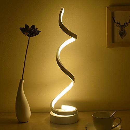 Dimmable LED Bedside Table Lamp, Remote Control Spiral Table Lamps Modern Curved LED Desk Lamp, 12W Warm White Light Minimalist Night Stand Reading Light for Office, Bedroom Living Room, White