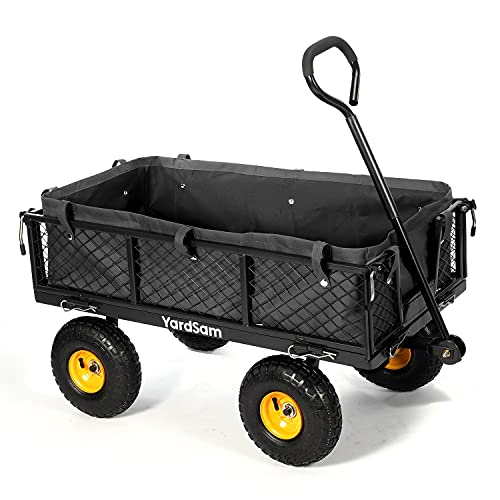 lawn carts Yardsam Utility Steel Garden Carts and Wagons, Lawn Wagon Cart Heavy Duty, Max Load 800lb, Removable Sides, Long Handle, 10 Inch Wheels and 600D Polyester with PVC Coated Liner (Black)