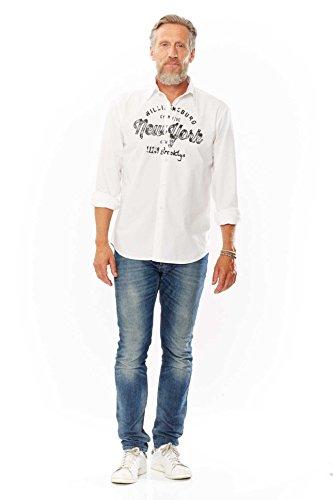 Kitaro Freizeithemd Hemd Shirt Kent Kragen Herren Langarm, Farbe:weiß, Herrengrößen:M