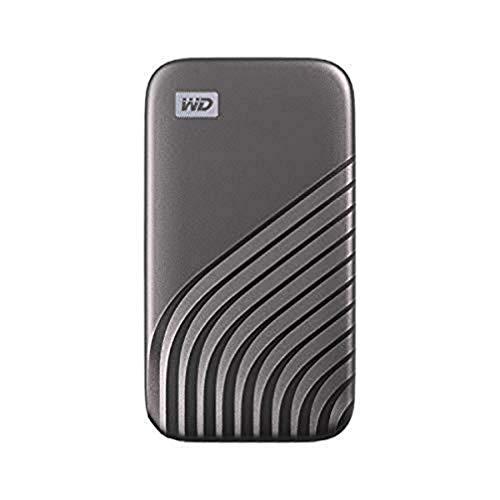 WD My Passport SSD 2 TB mobiler SSD Speicher (NVMe-Technologie, USB-C und USB 3.2 Gen-2 kompatibel, Lesen 1050 MB/s, Schreiben 1000 MB/s) dunkelgrau