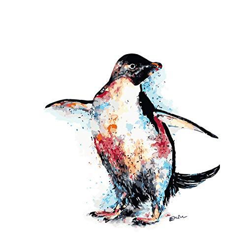 MEEKIS Malen nach Zahlen DIY DropshippingCool Tanzen gemalt Pinguin Tier Leinwand Hochzeit Dekoration Kunst Bild Geschenk-40x50cm