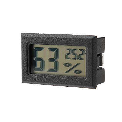 Mini termómetro Higrómetro, Pantalla LCD empotrada, Medidor de humedad y Medidor de humedad digital con sonda incorporada para oficina, dormitorio, incubadoras, incubadoras, tanque de reptiles(Negro)