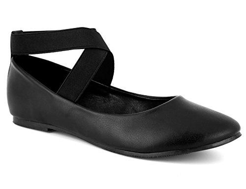 MaxMuxun Damen Geschlossene Ballerinas Flache Schuhe Schwarz Größe 41 EU