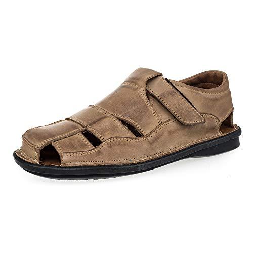 Ks 02 - Herren Geschlossene Sandalen Slipper aus Leder für den Sommer Khaki 42