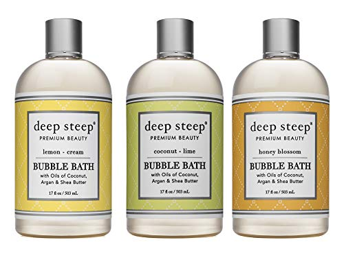 Deep Steep Bubble Bath Bundle Pack 1 each: Lemon Cream, Coconut Lime, Honey Blossom 17 ounce (Pack of 3)