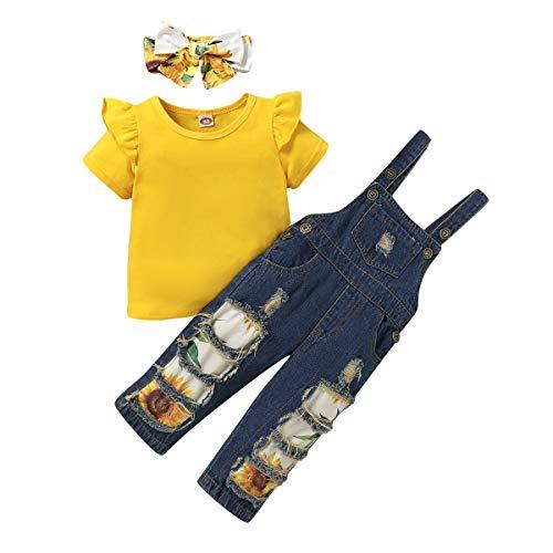 T TALENTBABY Conjunto de ropa de verano para niños pequeños, con diseño de flores, camiseta + pantalones cortos de girasoles + cinta para la cabeza, 3 unidades Amarillo largo. 12 - 18 Meses