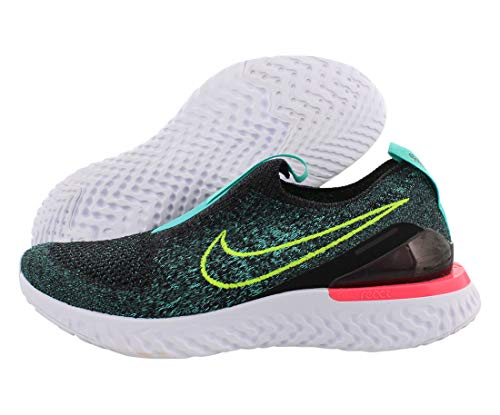 Nike Epic Phantom React Flyknit Gs Big Kids Bv1370-073 Size 7, Black/Volt-hyper Jade-racer Pink
