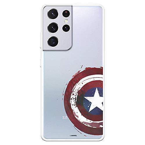 Funda para Samsung Galaxy S21 Ultra Oficial de Marvel Capitán América Escudo Transparente. Protege tu móvil con la Carcasa para Samsung de Silicona Oficial de Marvel.