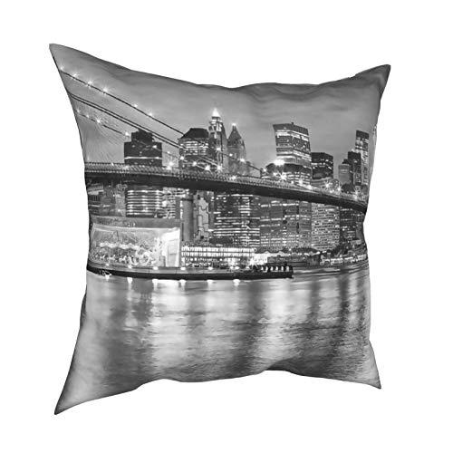 Funda de almohada Funda de cojín Puente de Brooklyn y Manhattan Nueva York Funda de almohada de lujo Funda de cojín Decoración decorativa para el hogar para sofá Sofá Dormitorio Sala de estar, 18 x 18