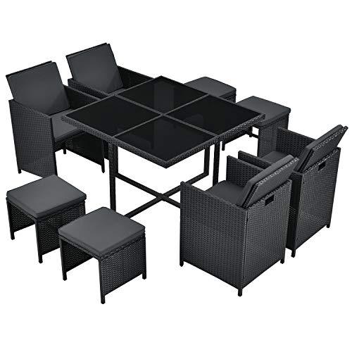 Juskys Polyrattan Sitzgruppe Baracoa L 9-teilig wetterfest & stapelbar – Gartenmöbel Set mit 4 Stühle, 4 Hocker & Tisch für Garten & Terrasse