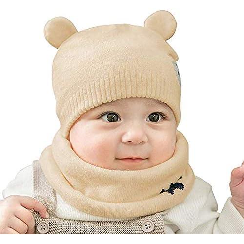 WIKEA Cappello del Bambino, Autunno Invernale Carina Beanie Cappelli Berretto Bambini Infantili del Cappello per 0-36 mesi Bambino Set di Sciarpe (Beige)