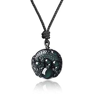 AMORWING Rainbow Obsidian Pixiu Chinese Totem Animal Stone Pendant Mala Necklace