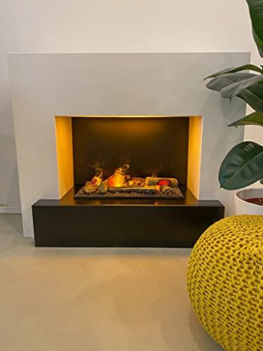 GLOW FIRE Hauptmann Elektrokamin Opti Myst Cassette 600 3D Wasserdampf Feuer, elektrischer Standkamin mit Fernbedienung, Regelbarer Flammeneffekt, 110 cm, Weiß