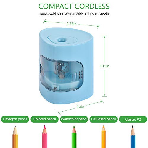 Electric Pencil Sharpener, USB/Battery Dual Power Mode, Heavy-duty Helical Blade to Fast Sharpen, Auto Stop for No.2/Colored Pencils(6-8mm), Suitable for Kids, Teachers, Classroom, Office (blue) Photo #4