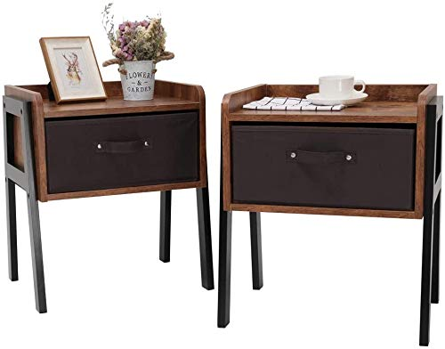 IWELL Nightstand Set of 2, End Table with 1 Drawer, Side Table for Small Space, Wood Bedside Table Set of 2 for Bedroom & Living Room, Simple Assembly, Rustic Brown BZX006F2