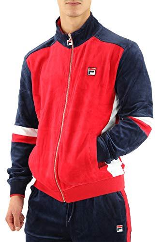 Fila Herren Camden Velour Track Jacket, rot, S
