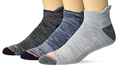 Merrell Men's Cushioned Hiker Low Cut Tab Socks 3 Pair, Blue Stone, Dark Grey/Light Grey, Black, L/XL