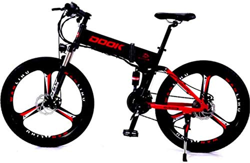 Fangfang Electric Bikes, 26-In Folding Electric Bike for Adult with 250W36V8A Lithium Battery 27-Speed Aluminum alloy with LCD Display Cross-Country E-Bike Load 150 Kg,E-Bike (Color : Red)