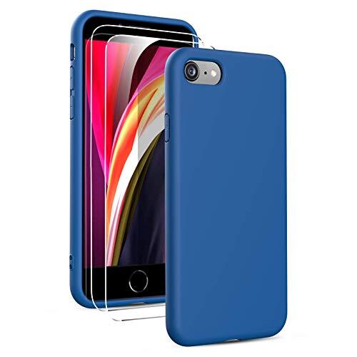 Oududianzi- Cover Compatibile con iPhone SE 2020/7/8 Custodia Morbida in Silicone Liquido + [2 Pack Pellicola Protettiva Vetro Temperato ], Cover Tinta Unita Ultrasottile e Antiurto Gomma Case - Blu