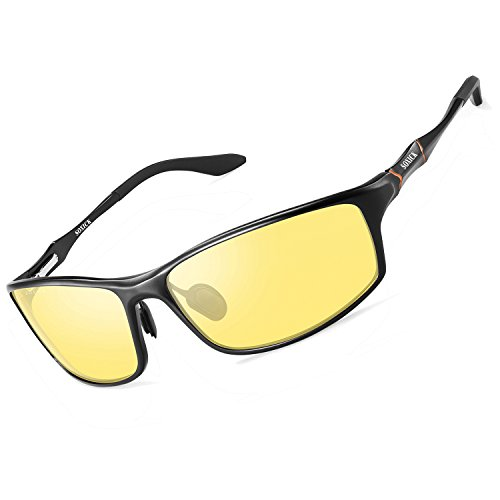Night Vision Glasses for Men Women - SOXICK Polarized HD Driving Glasses Anti Glare UV400 Adjustable Metal Frame Yellow Lens (Balck, 2.5)