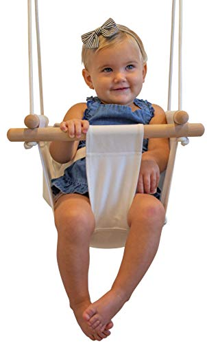 Indoor Swing | Hanging Baby Swing Seat | Secure Safety Belt and Mounting Hardware Included | Fun Secure Canvas Hammock Chair Indoor Toddler Toy (Coconut White)