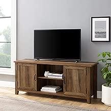 Walker Edison Buren Classic Grooved Door TV Stand for TVs up to 65 Inches, 58 Inch, Rustic Oak