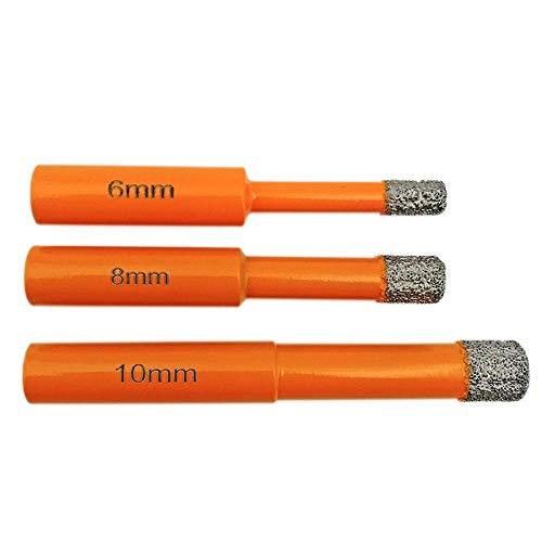 Brocas Para 3 unids (6 mm + 8 mm + 10 mm) Vacuo Bloques de perforación de diamantes soldados de diamante Bits de taladro redondo Bits de broca Sierra