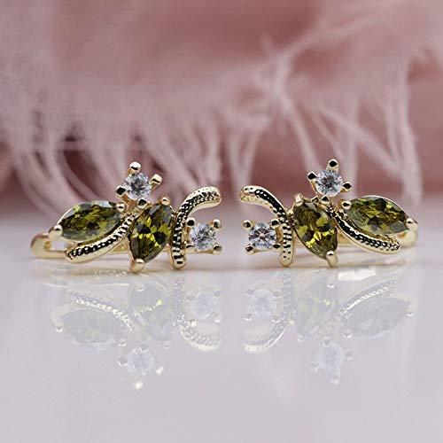 CHQSMZ Earring New Olive Green Drop Earrings 585 Rose Gold Natural Zircon Inlaid Bronco Turkey Antique Jewelry Chandelier Dangle Earrings
