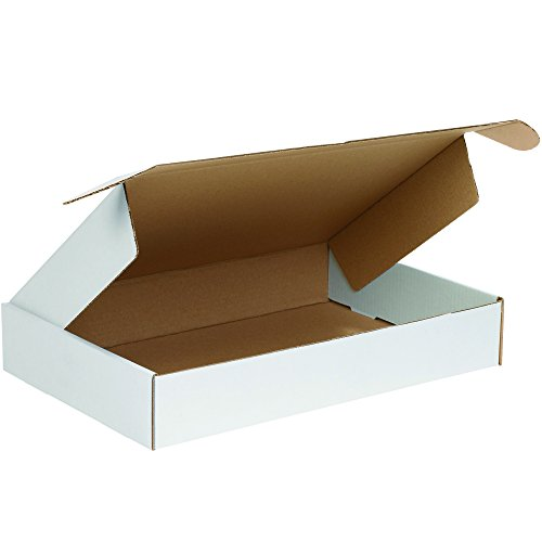 Boxes Fast BFMFL18123 Deluxe Literature Cardboard Mailers, 18 x 12 x 3 Inches, Corrugated Die-Cut Shipping Boxes, Large White Mailing Boxes (Pack of 25)