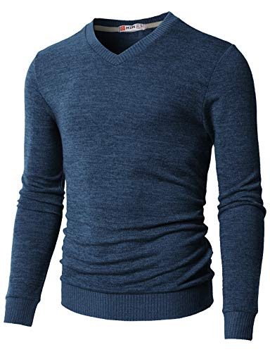 H2H Men Stand Collar Long Sleeves Cable Knit Single Breasted Cardigan Sweater Blue US XL/Asia 2XL (CMOSWL018)
