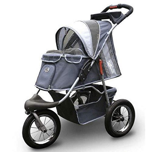 InnoPet ips-045 zusammenklappbarer Kinderwagen für Hunde und Katzen mit airfilled Reifen, dunkelgrau/hellgrau