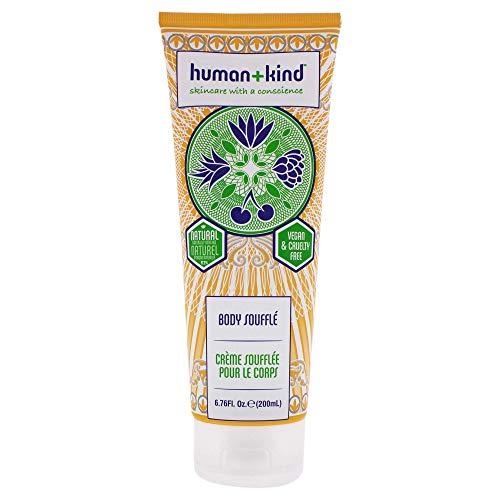 Human+Kind Body Soufflé, Skin Care - Himmlisch Leichte Bodylotion – Hautpflege mit Fruchtig Frischem Gurken-Melonen Duft - Natürliche, Vegane Hautpflege - 200 ml Tube