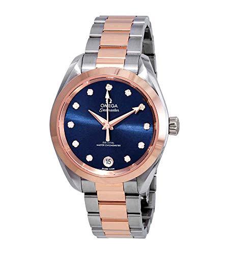 Omega Seamaster Aqua Terra Reloj cronómetro automático para mujer con esfera azul diamante 220.20.34.20.53.001