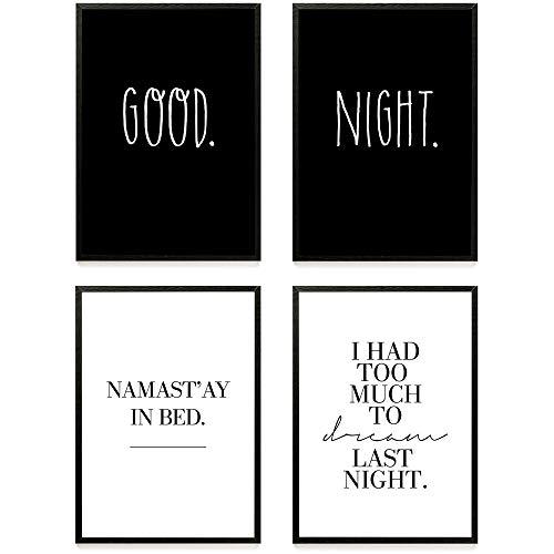 Heimlich ® Premium Poster Set | Stilvolles Set mit passenden Bilder in Schwarz-Weiß | 4 Stück in DIN A3 (30x42cm) | ohne Bilderrahmen » Good Night «