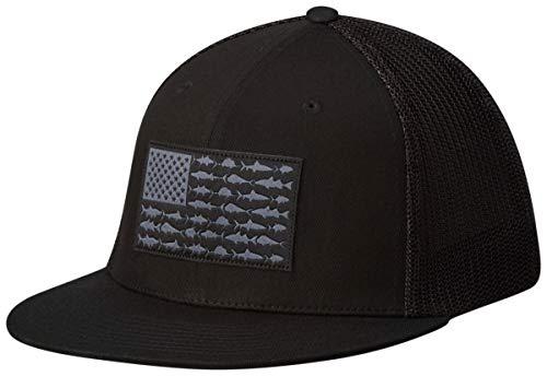 Columbia Unisex PFG Mesh Flat Brim Ball Cap, Black/Fish Flag, L/XL