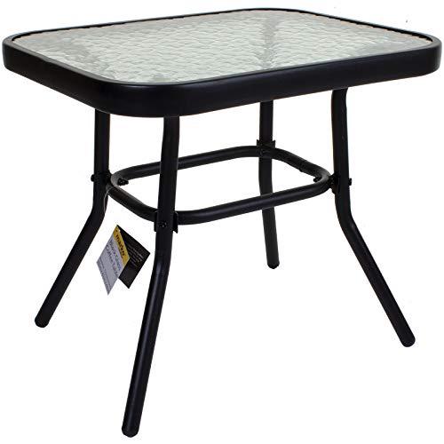 Marko Black Coffee Table Small Garden Bistro Patio Tempered Glass Rectangular Ripple