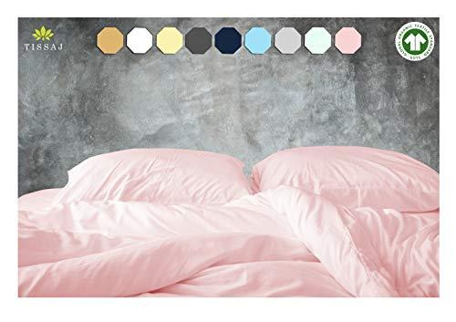 Duvet Cover Twin & Twin XL Size - Rose - 100% Organic Cotton - GOTS Certified - 500 Thread Count Soft Sateen - Duvet Insert, Down / Alternative Comforter, Weighted Blanket Comforter Cover Sateen Weave