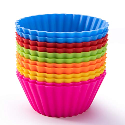 SAWNZC Silicone Baking Cups, Reusable Cupcake Liners Nonstick Muffin Cups Cake Molds Set Standard Size Cupcake Holder, 12 Packs in 6 Rainbow Colors