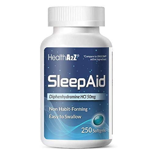 HealthA2Z Sleep Aid, Diphenhydramine HCl 50mg, 250 Softgels, Compare to Unisom, Supports Deeper, Restful Sleeping, Non Habit-Forming