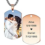 MeMeDIY Personalized Dog Tag Pendant Necklace Engraving Name/Date/Text/Color Picture for Men Women Memorial Stainless Steel Jewelry. Bundle with Adjustable Chain, Keychain, Silencer (Rose-Gold Color)
