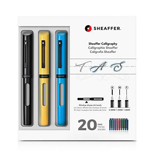 Sheaffer Calligraphy Maxi Kit nero, giallo, blu, 3 penne stilografiche ricaricabili, 3 pennini, 20 inchiostri assortiti
