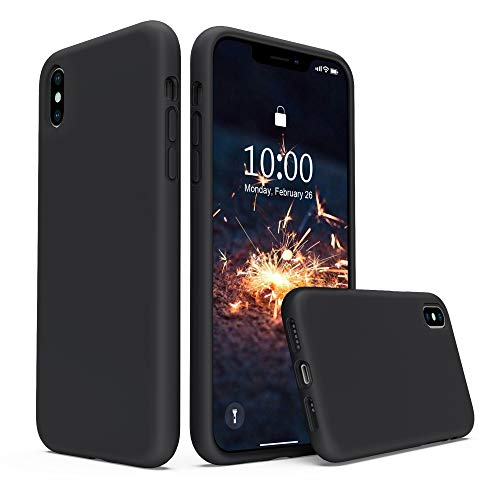 xhorizon iphone 5 cases SURPHY Silicone Case Compatible with iPhone Xs Case iPhone X Case 5.8 inches, Liquid Silicone Phone Case (with Microfiber Lining) for iPhone Xs 2018 / iPhone X 2017 (Black)