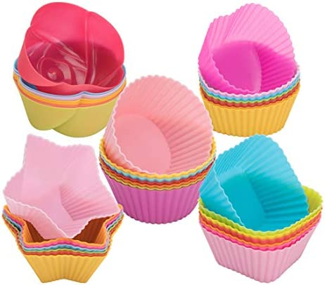 peinat Silicone Cupcake Baking Cups 35PCS Silicone Muffin Liners 7 Colors Reusable Baking Cups product image