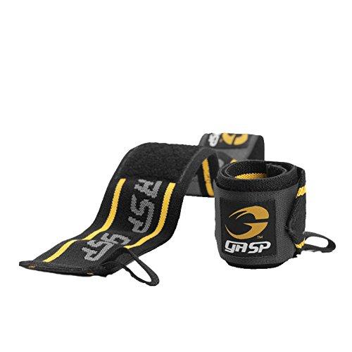 GASP 30475, Wrist Wraps Unisex – Adulto, Black/Yellow, Taglia Unica
