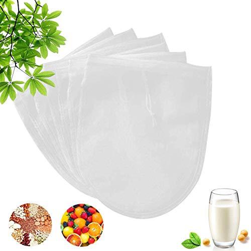 Nussmilchbeutel,TOPSEAS 7 Stück Passiertuch aus Natürlicher Material für Vegane Nussmilch Mandelmilch Haselnussmilch Feinmaschiges Passiertuch Filtertuch für Obstsaft & Kaffee