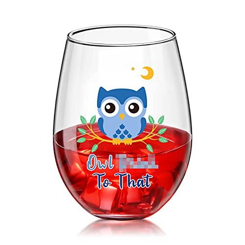 Copa de Vino sin Tallo de Owl To That Vaso de Feliz Cumpleaños Divertido para Mujeres Hombres Hermana Mamá Esposa Búho Amante Suministros para Fiestas de Inauguración de Casa, 17 oz