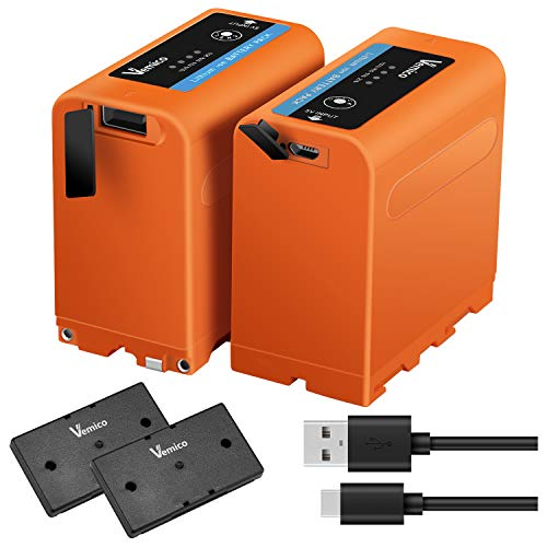 Vemico NP-F970バッテリー NP-F980/F330/F530/F550/F570/NP-F730/F750/F770/NP-F930/F950/F960/F970/F990交換バッテリー 大容量2*7800mAh 4個ledライト付き 対応機種 HDR-FX1/HVR-Z7J/HVR-Z5J/ HVR-V1J/HVR-HD100J/HXR-NX5J/HDR-AX2000/HDR-FX7/HDR-FX1000/FDR-AX1など対応