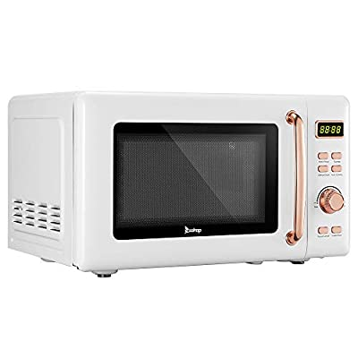 20L / 0.7cuft Retro Microwave With Display/Golden Handle, Countertop Retro Microwave Oven With Glass Tray And Roller Ring (White)